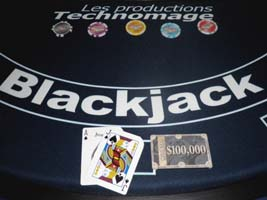 tables de jeu, poker, blackjack etc.